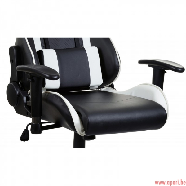 chaise de bureau gamer racer black white apori sp z o o. Black Bedroom Furniture Sets. Home Design Ideas