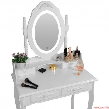 """Coiffeuse """"Roze"""" blanche avec miroir LED + tabouret"""