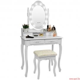 """Coiffeuse Cosmétique """"ROSE"""" Blanc avec Miroir LED + Tabouret"""