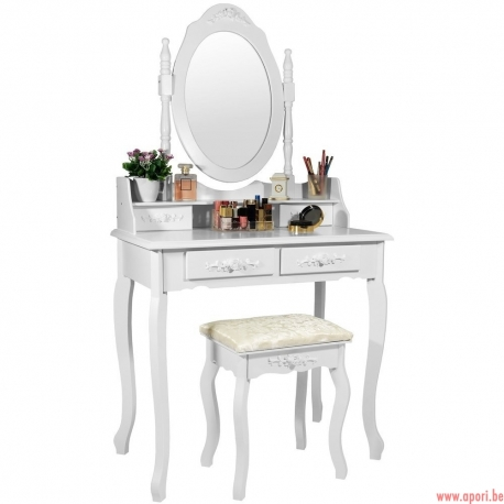 Coiffeuse blanche + tabouret