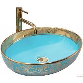 Lavabo en céramique MARGOT OR / BLEU