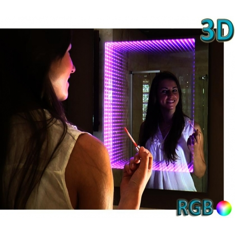 Miroir led 3d 70x50 pilote rgb for Miroir 70x50