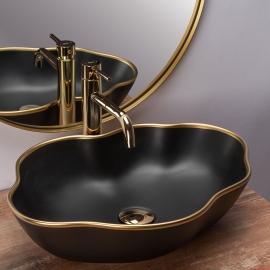 Vasque à poser pearl black gold