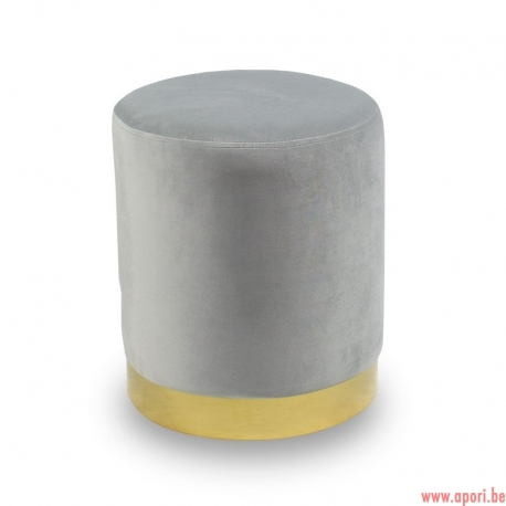 Pouf en velours gris UC3013G